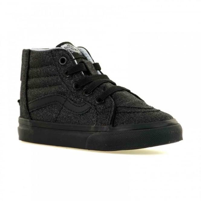 78f5cdae21 vans infants sk8 hi zip shimmer trainers black kids from loofes uk