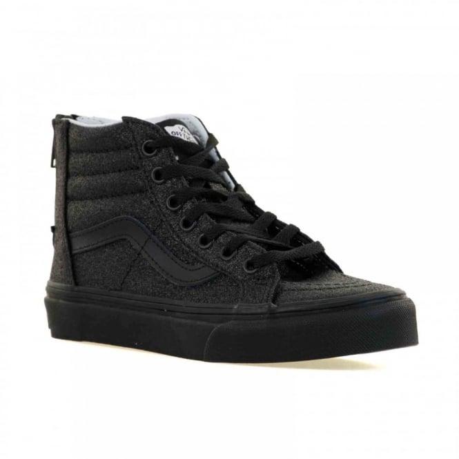 9995bca294 vans juniors sk8 hi zip shimmer trainers black kids from loofes uk