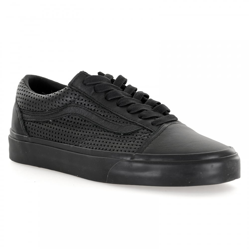 vans black leather perforated